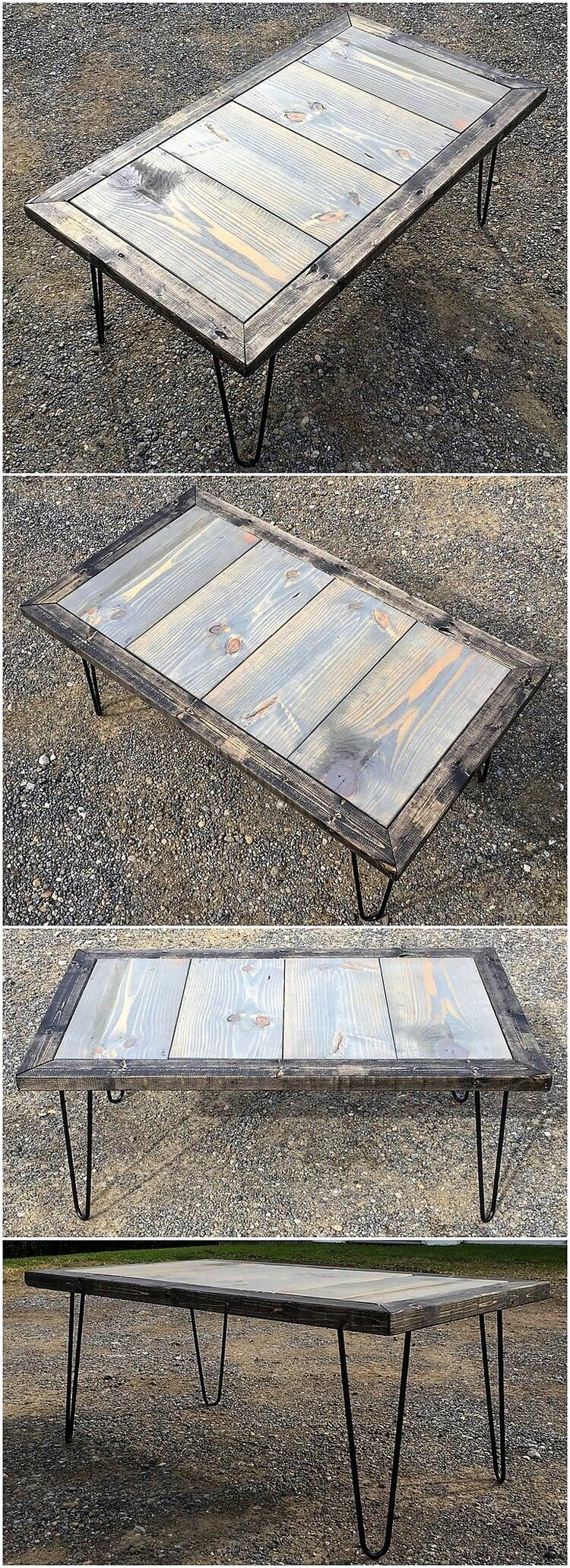 Wood Pallet Table with Hairpin Legs