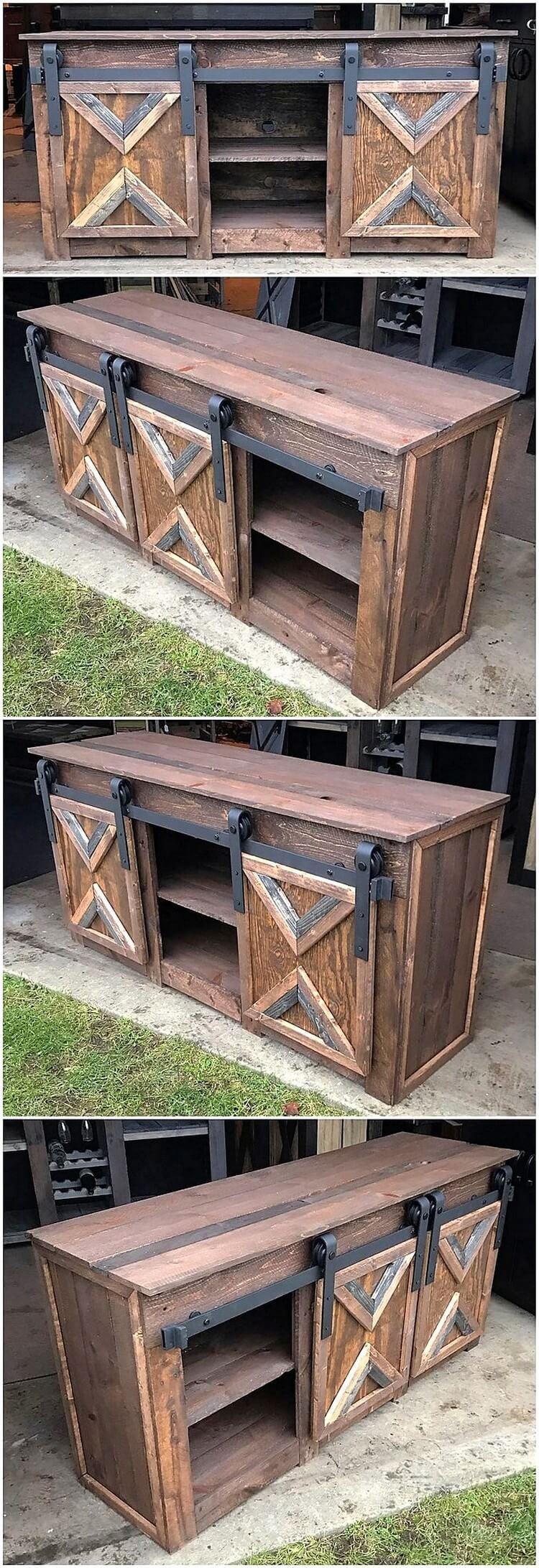 Wooden Pallet Cabinet with Sliding Doors