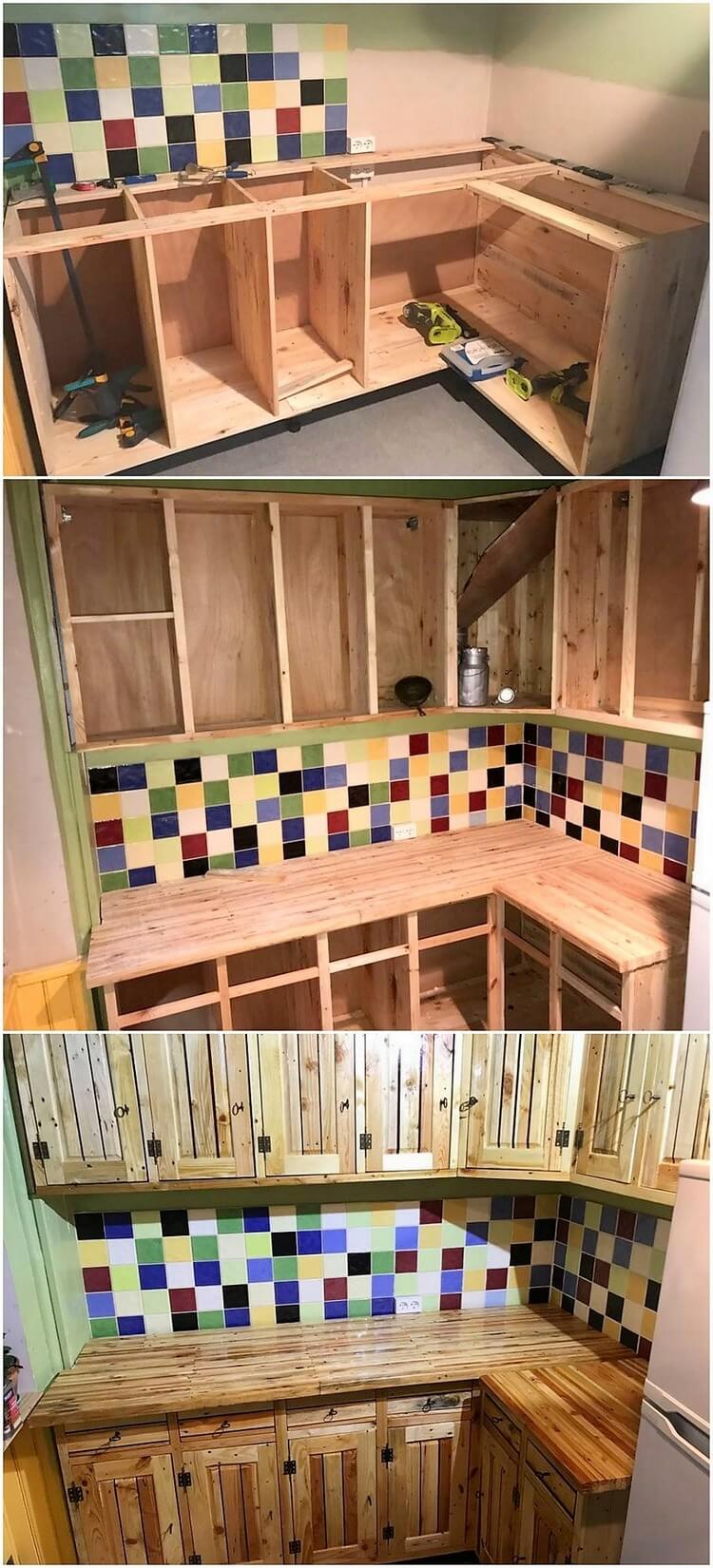DIY Pallet Kitchen Cabinets