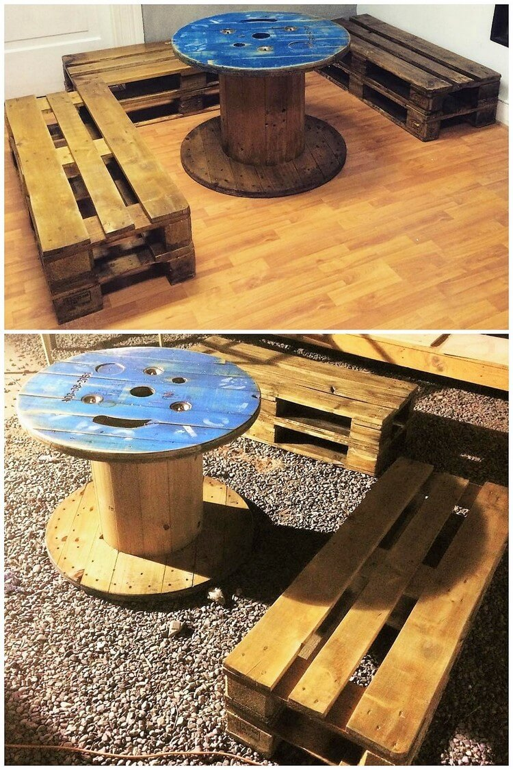 Pallet Outdoor Benches and Round Top Table
