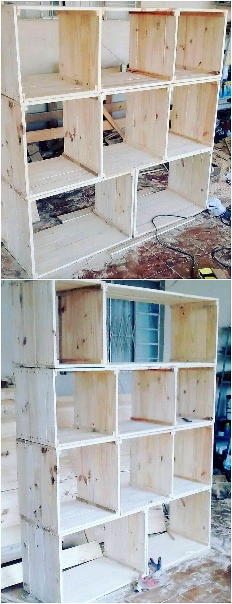 Wood Pallet Shelving Unit