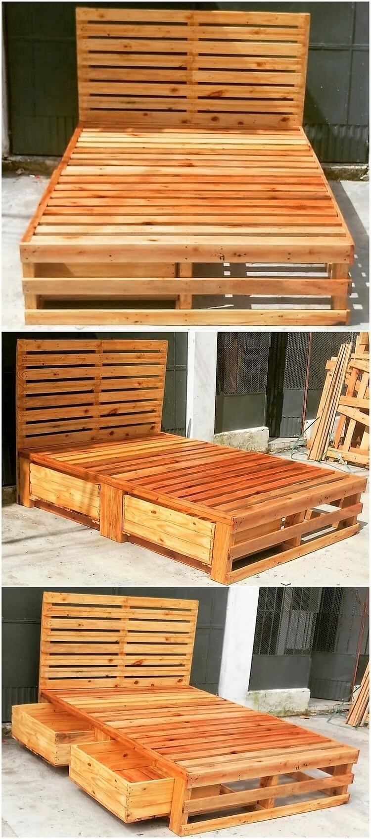 Pallet Bed with Storage Drawers