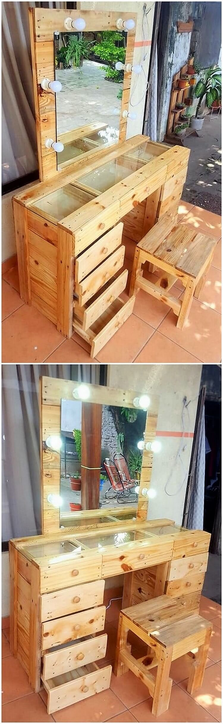 Pallet Dresser with Drawers and Stool