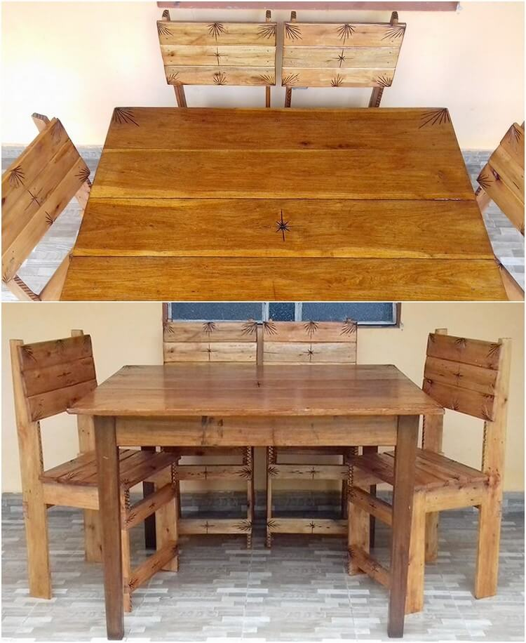 Pallet Table Chairs
