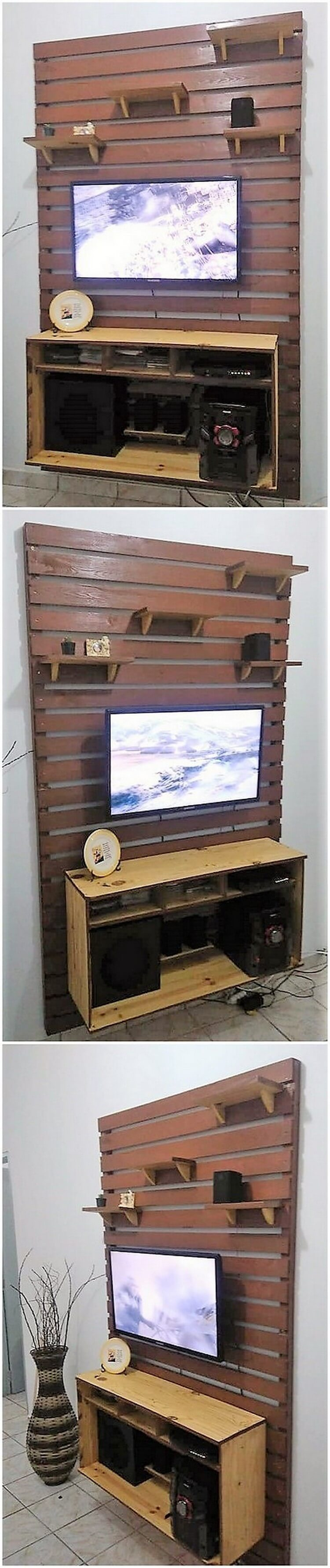 Pallet Wall LED Holder and Media Unit
