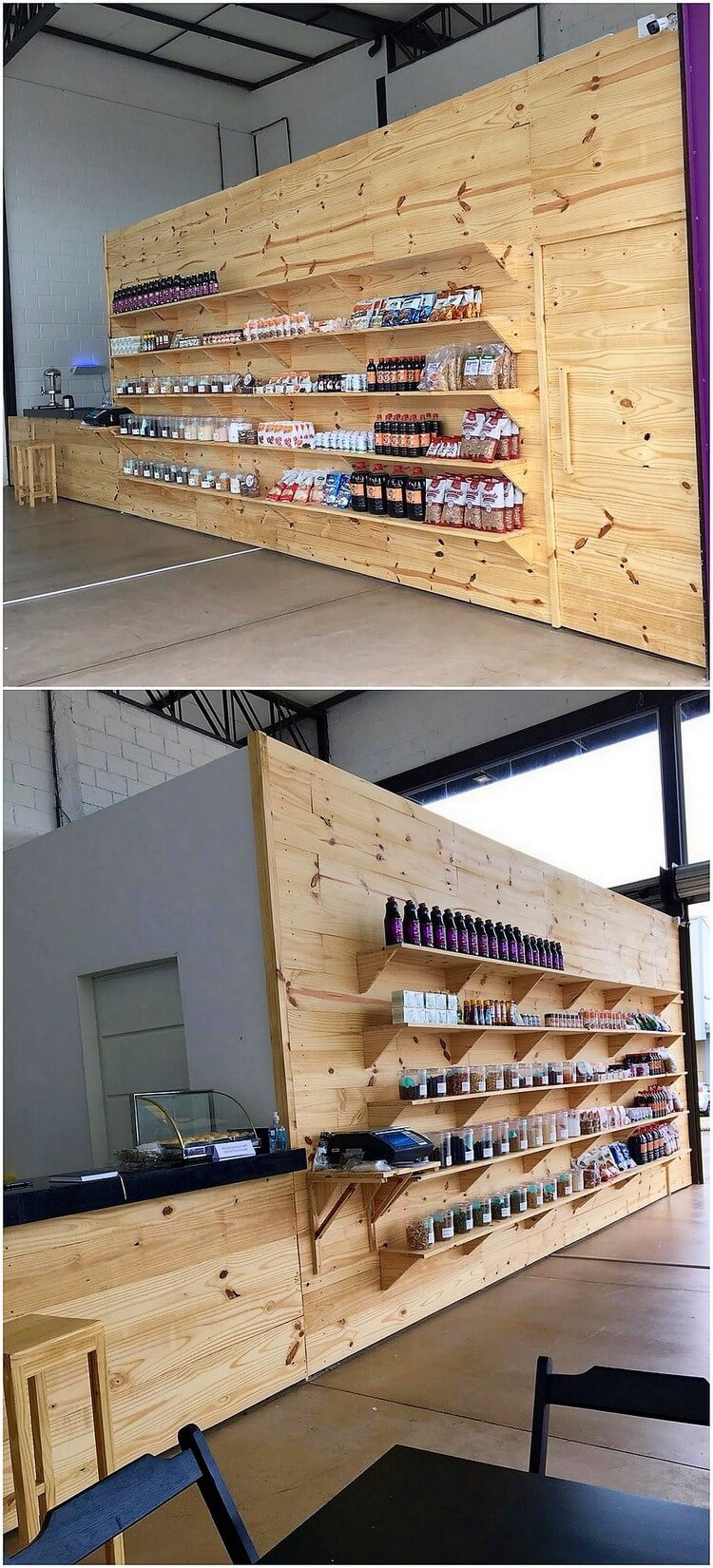 Pallet Wall Paneling with Shelving Unit