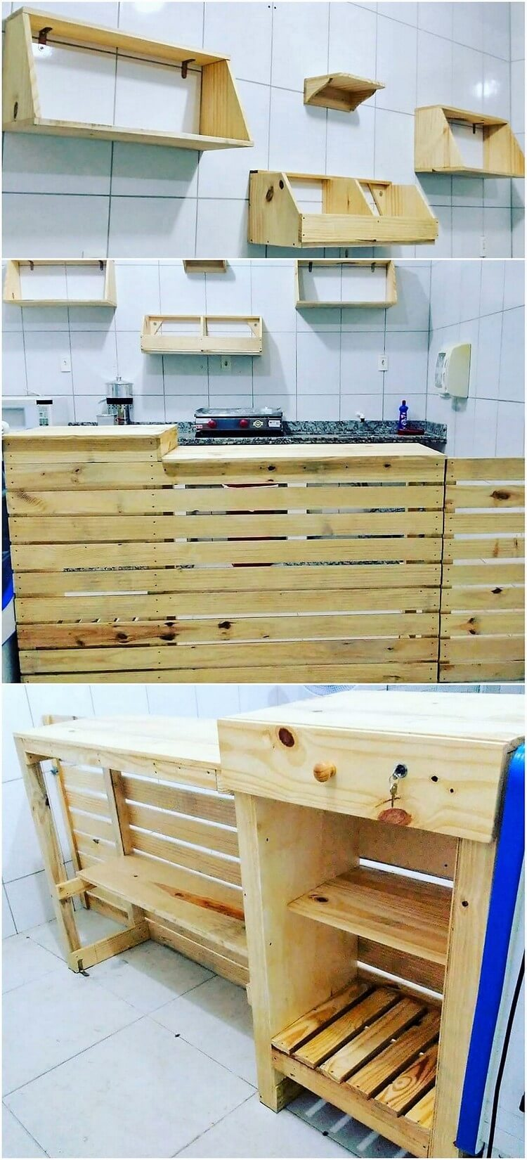 Pallet Wall Shelves and Kitchen Counter Table