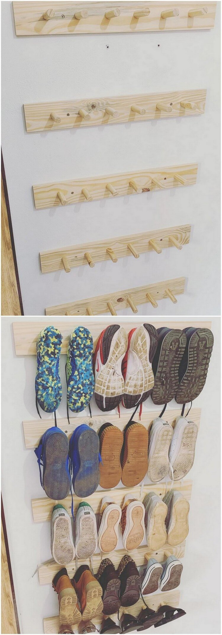 Pallet Wall Shoe Rack