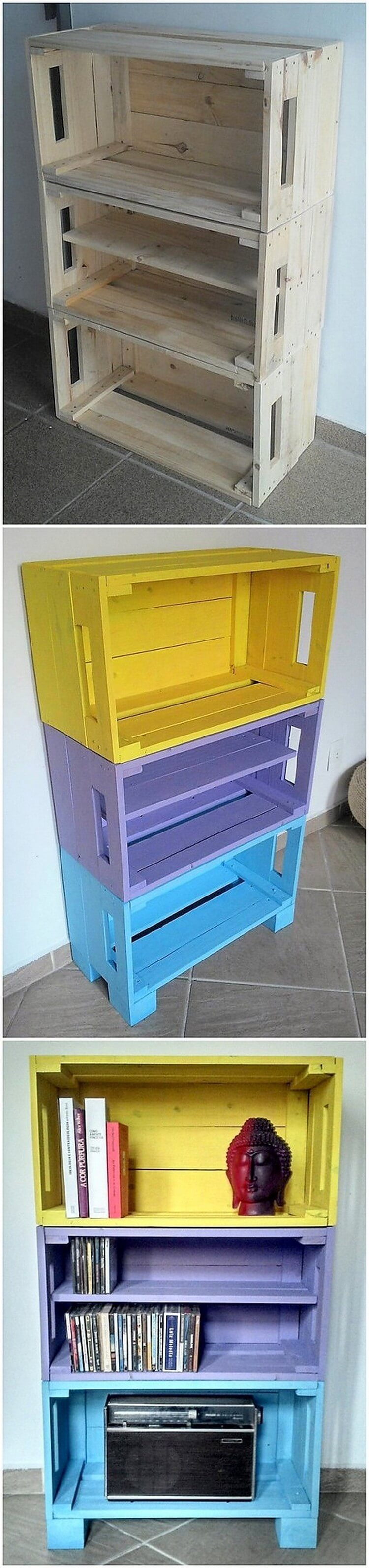 Pallets and Fruit Crates Bookshelving