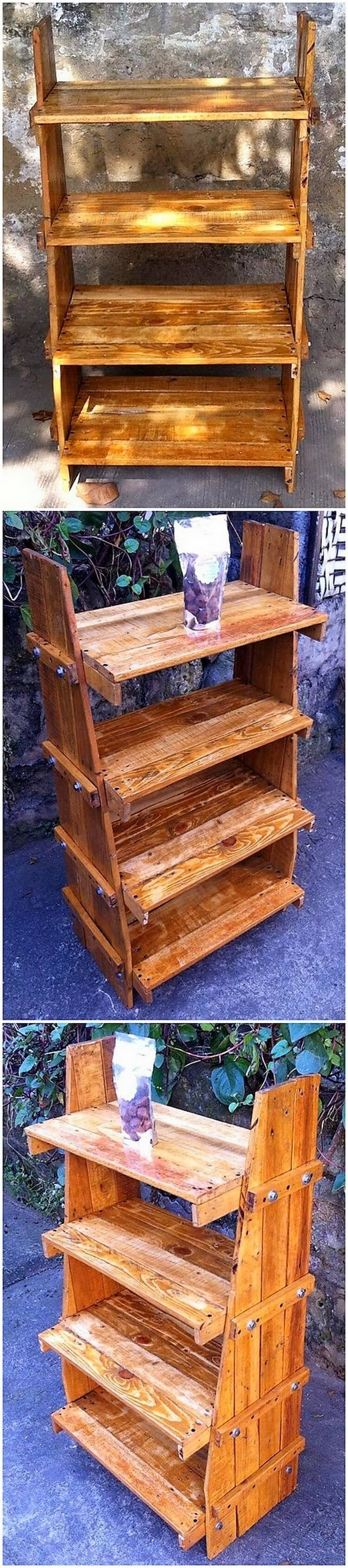 Wood Pallet Shelving Stand
