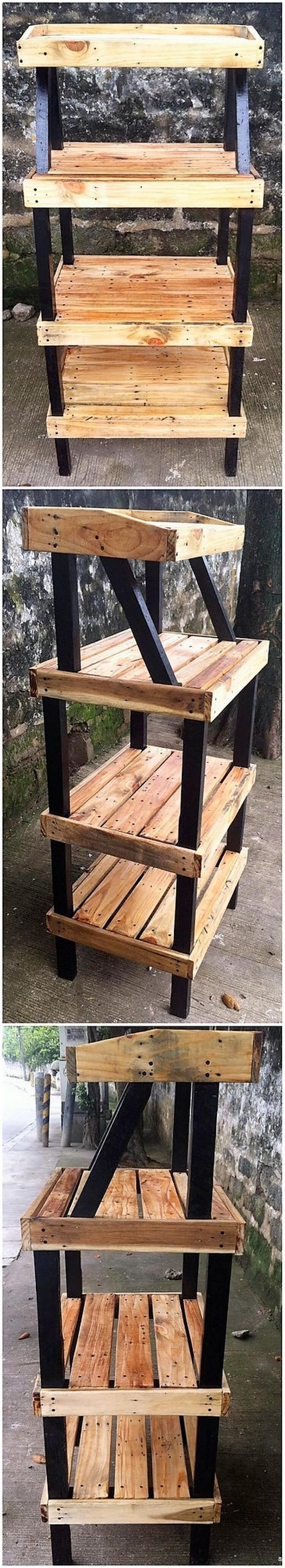 Wooden Pallet Shelving Stand