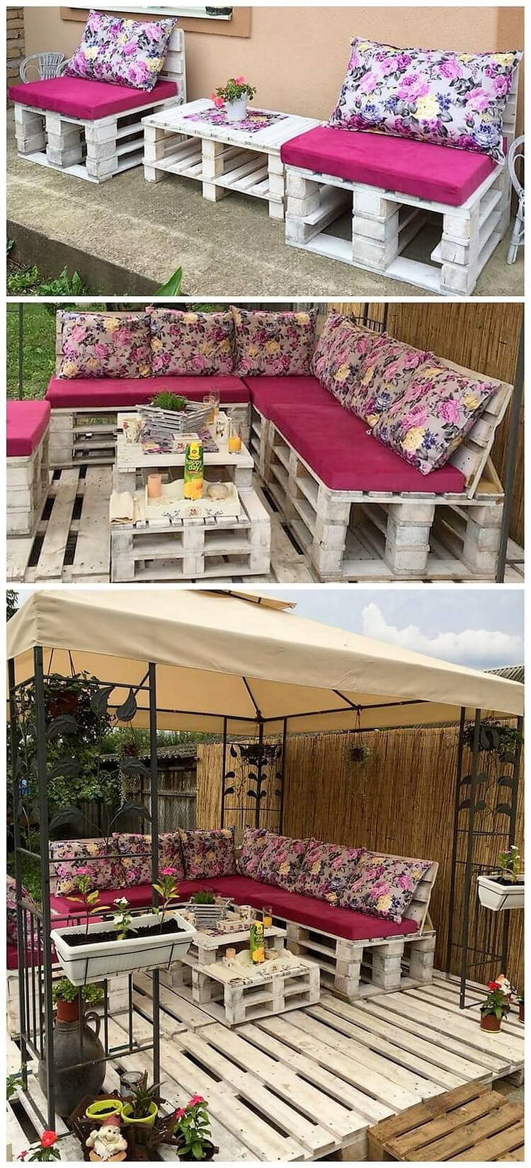 Pallet Garden Benches and Table with Garden Terrace