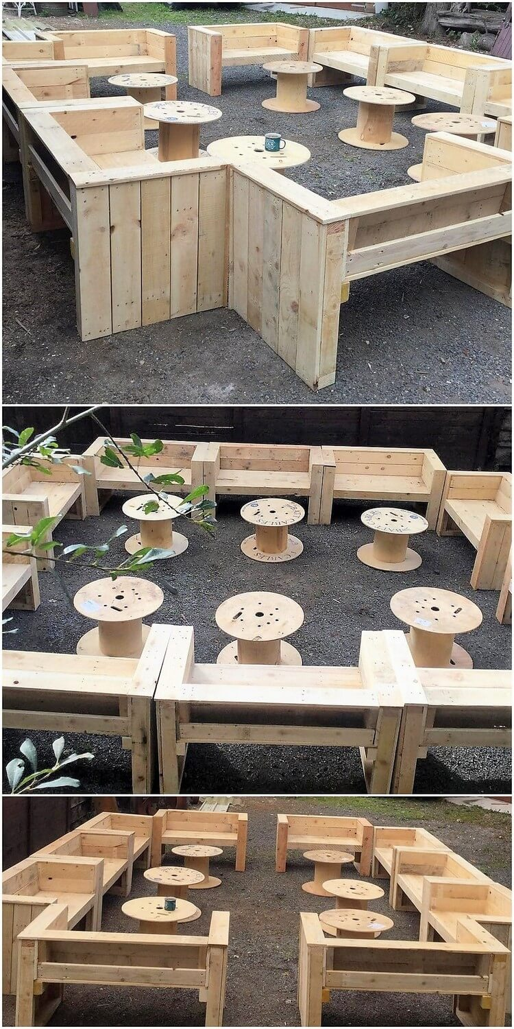 Pallet Outdoor Benches and Tables