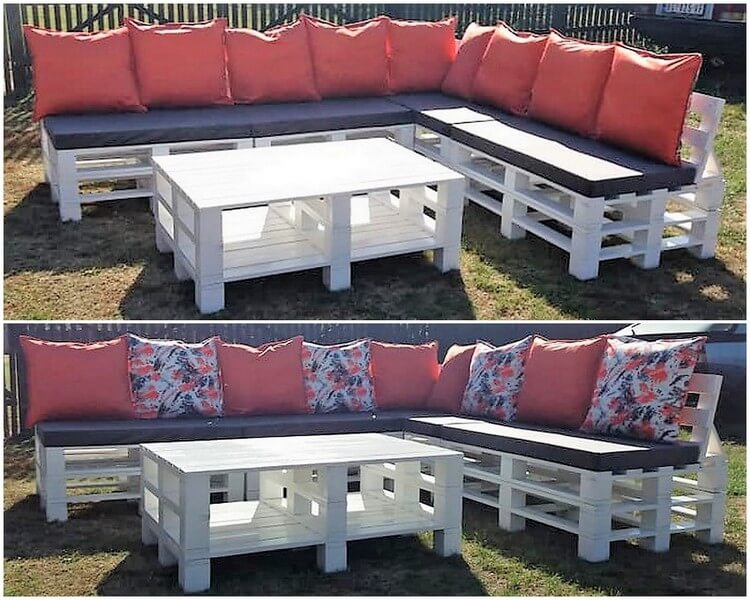 Pallet Outdoor Garden Couch and Table