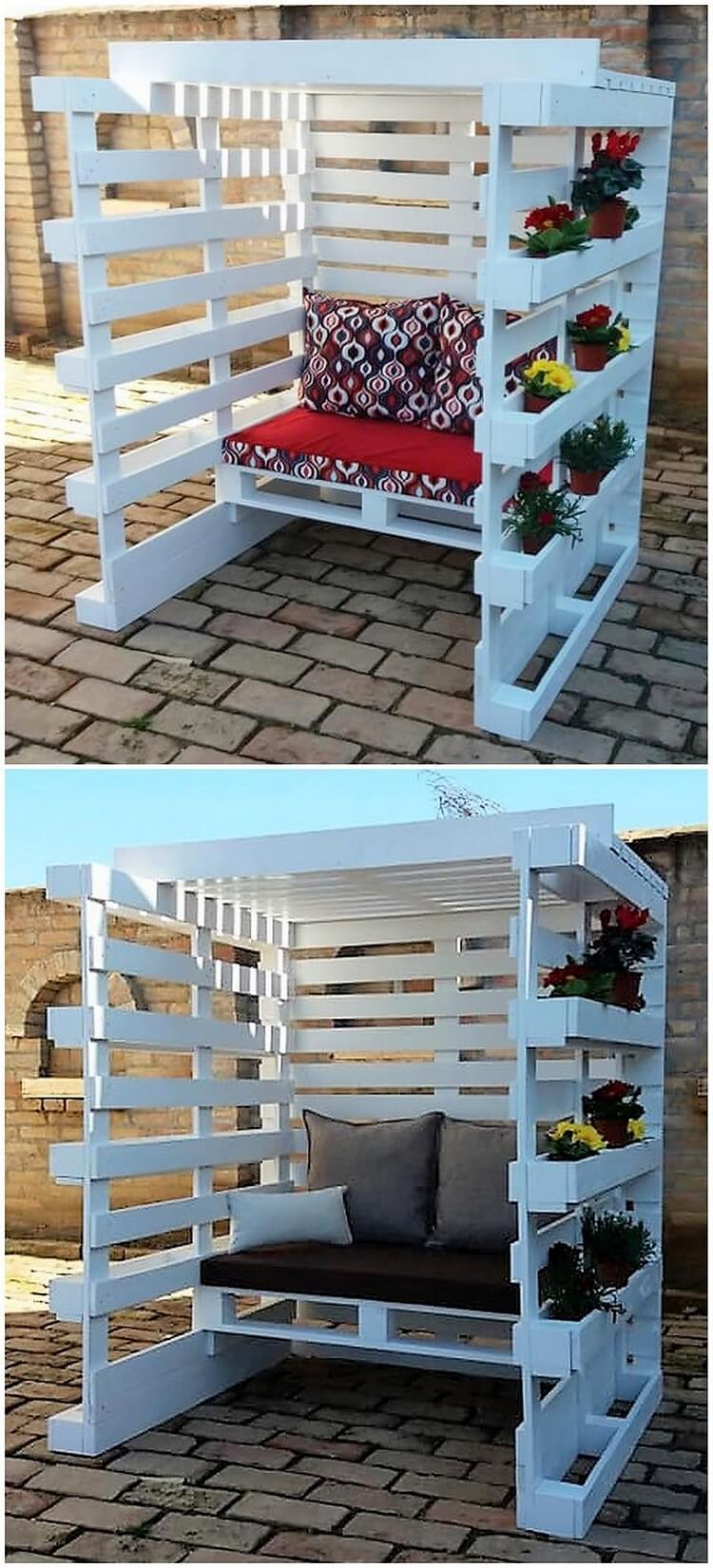 Pallet Seat with Planters