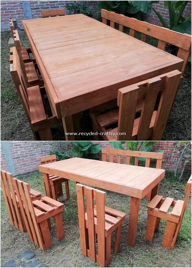 Pallet Wood Dining Furniture Set