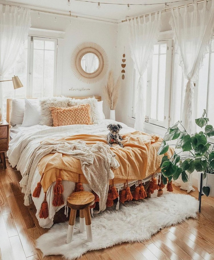 Bohemian Style Beautiful Bedroom Design (16)