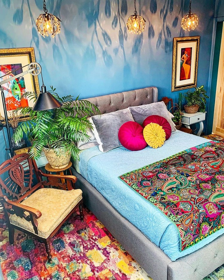 Bohemian Style Beautiful Bedroom Design (25)