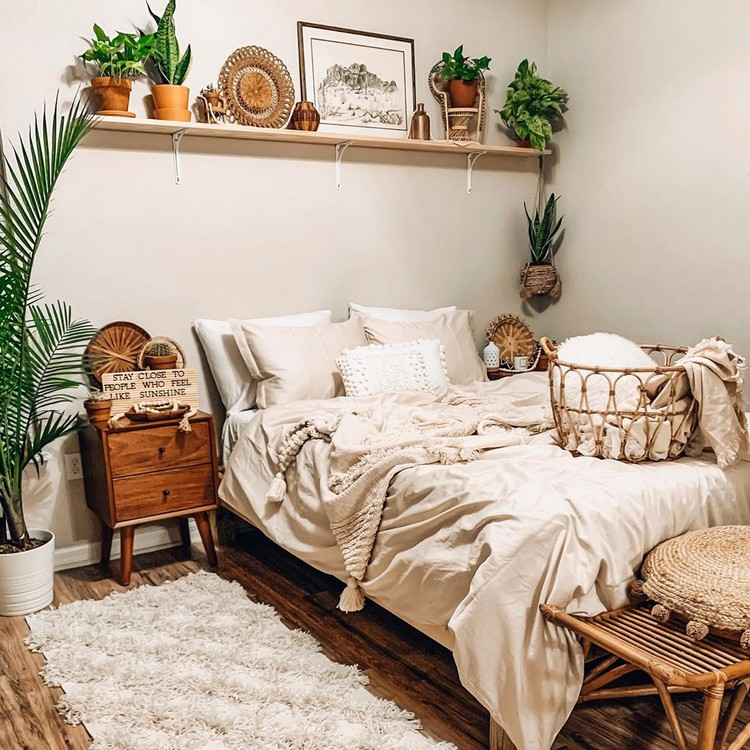 Bohemian Style Beautiful Bedroom Design (33)
