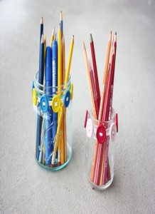 Button Jar Recycled Pencil Holder