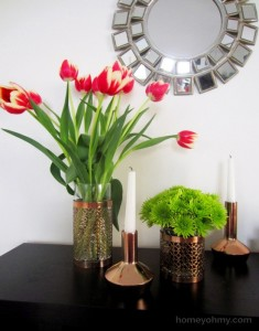 Reuse Candle Holders with Flowers