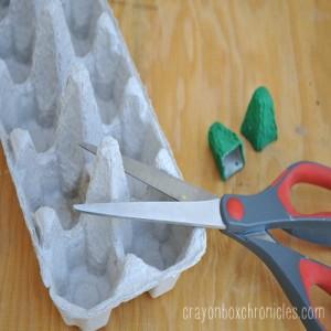 Cutting Egg Carton to Make Eye