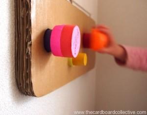 DIY Cardboard and Cap Peg Rack