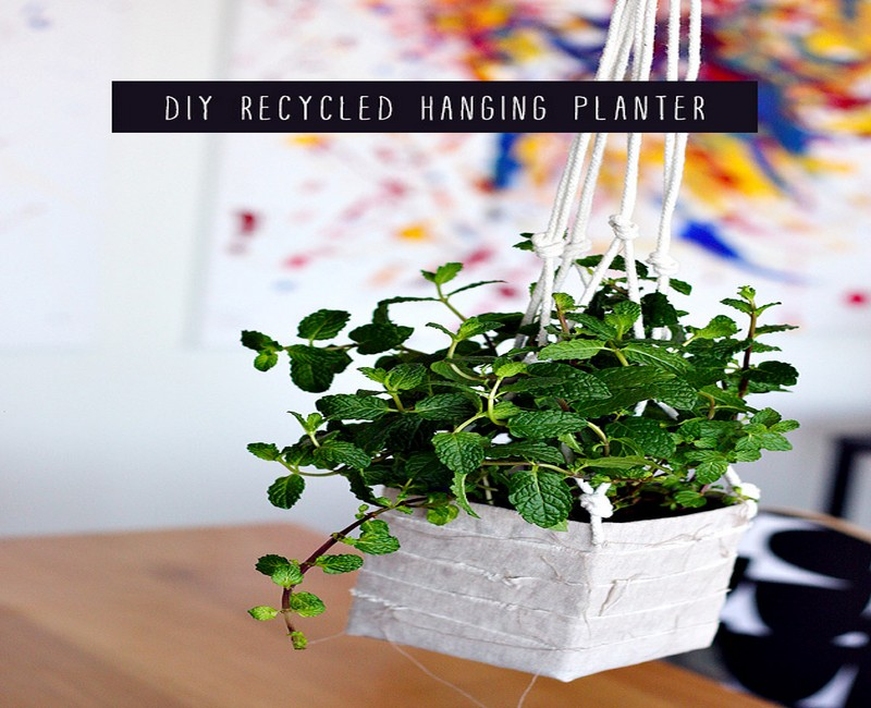 DIY Recycled Hanging Planter