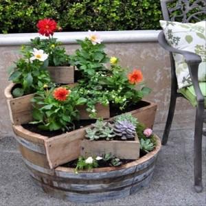 DIY Repurpose Wine Barrels Garden Decor