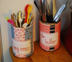 DIY Storage Made of Recycled Tin Cans