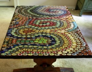 Recycled Bottle Top Caps Table Ideas