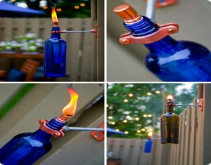 Torch Lamp From Vine Bottles