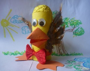 Toy Bird with Recycled Empty Toilet Paper Rolls