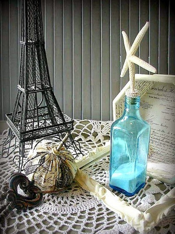 Blue Recycled Glass Bottle