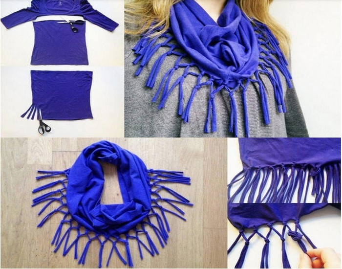 DIY Recycled Fabrics Scarf Idea