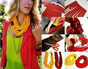 DIY Recycled Old T-shirt Scarf Idea