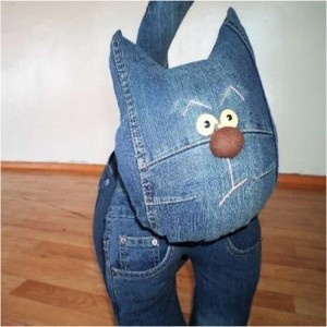Recycled Blue Jeans Kids Toys Cat