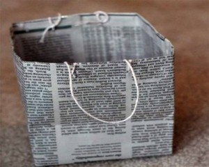 Recycled Newspaper Gift Bag Idea