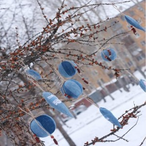 Recycled Old Blue Jeans Christmas Tree Ornaments