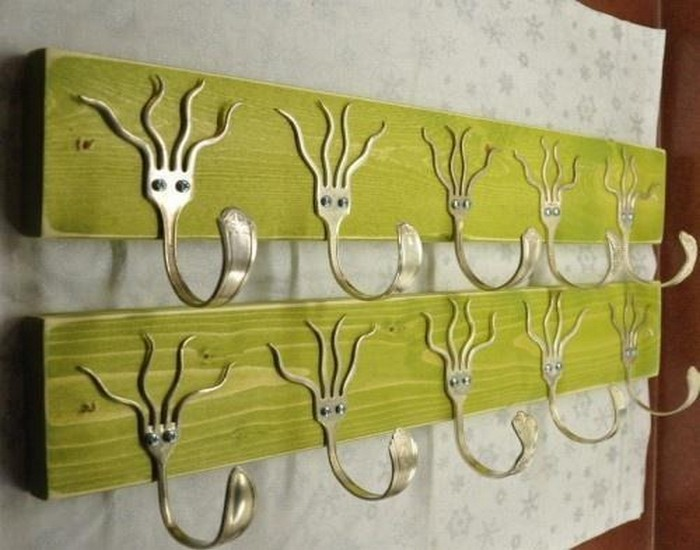 Wall Hooks from Recycled Metal Tableware