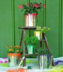Recycled Tin Cans Garden Decor