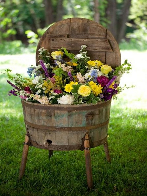 Recycled Wood Flowers Drum for garden decor