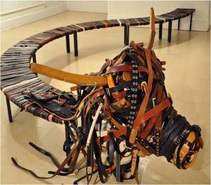 Upcycled Belt Bench Idea