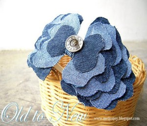 Upcycled Old Jeans Flower Decoration Piece