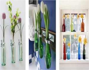 Recycled Glass Bottles with Flowers Wall Decor Idea