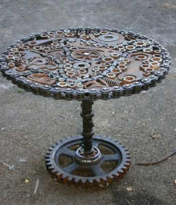 Recycled Metal Table Idea