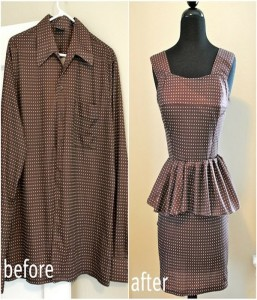 Recycled old shirt convert into short skirt