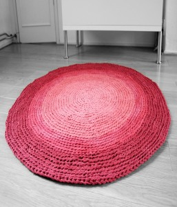 Upcycled Fabrics Crochet Rug