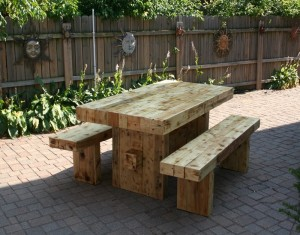 Reclaimed Wood Outdoor Table and Benches