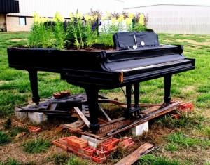 Repurposed Wooden Piano Garden Decor